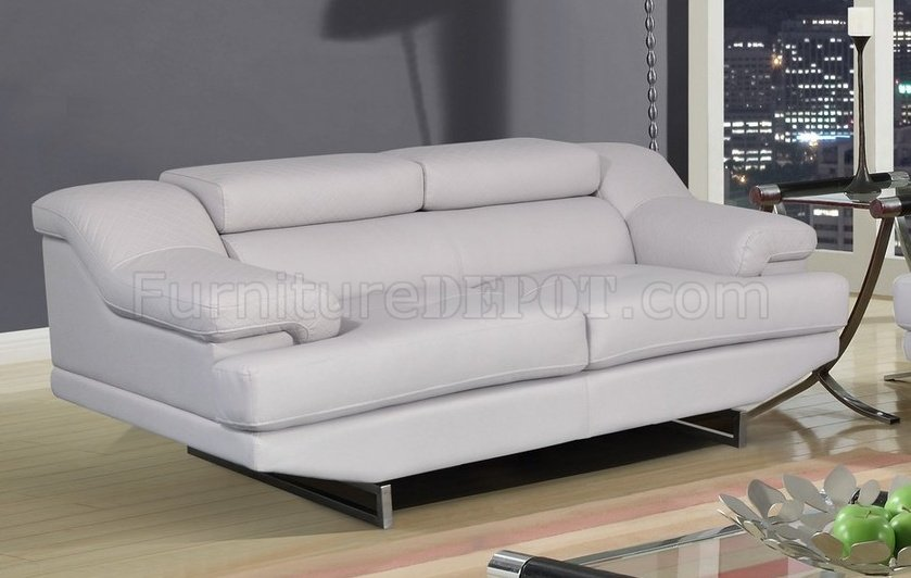 U8141 sofa in light gray bonded leather by global w options for Light gray leather sofa