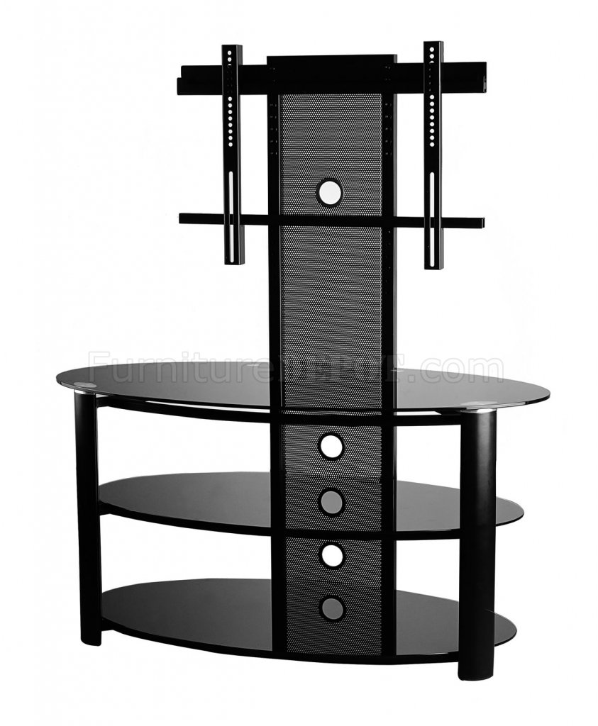 black glass and metal modern tv stand w shelves. Black Bedroom Furniture Sets. Home Design Ideas