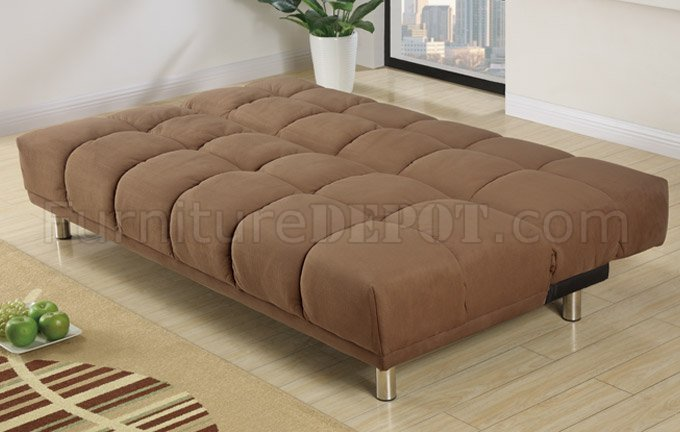 Saddle Microfiber Modern Sofa Bed Convertible W Metal Legs