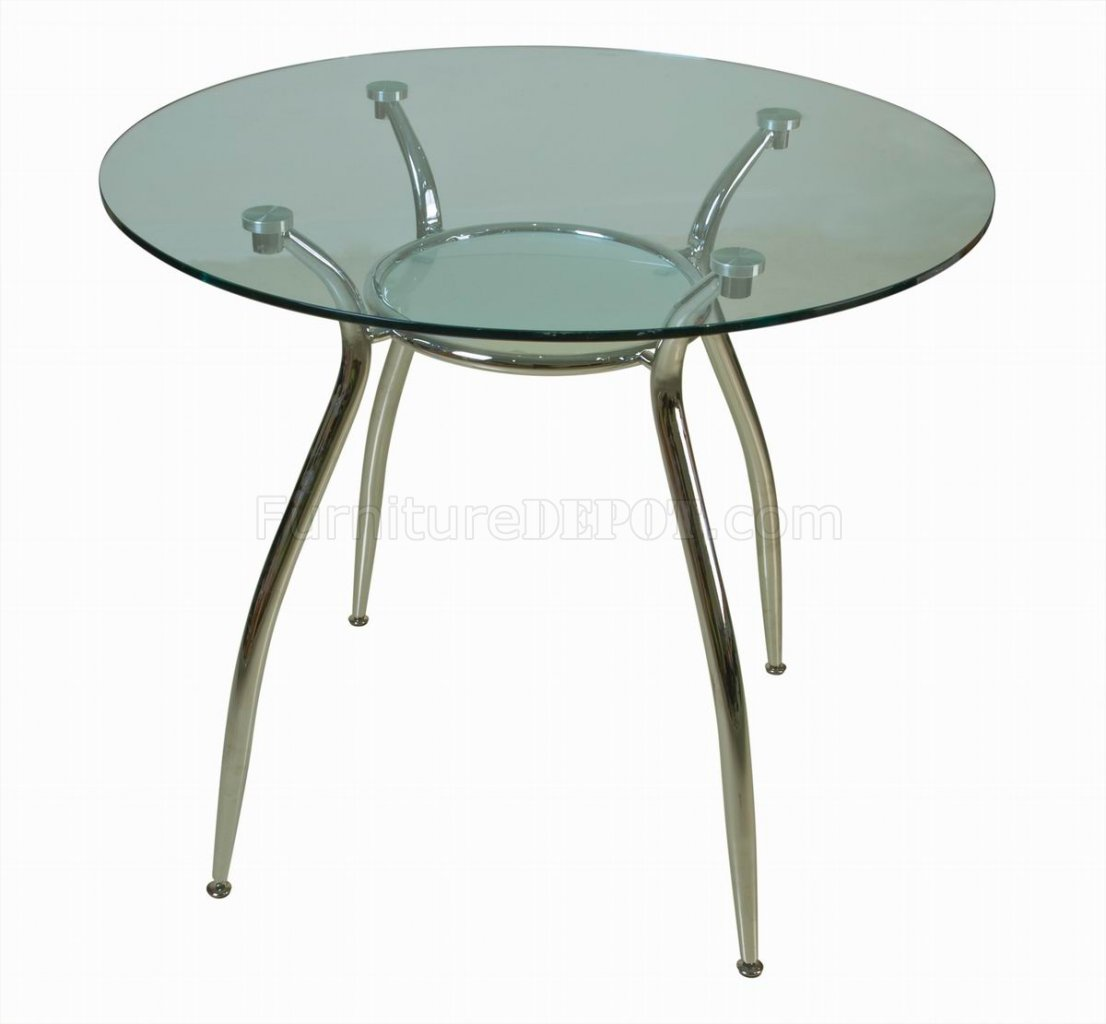 Glass Top Metal Legs Modern Elegant Round Dining Table