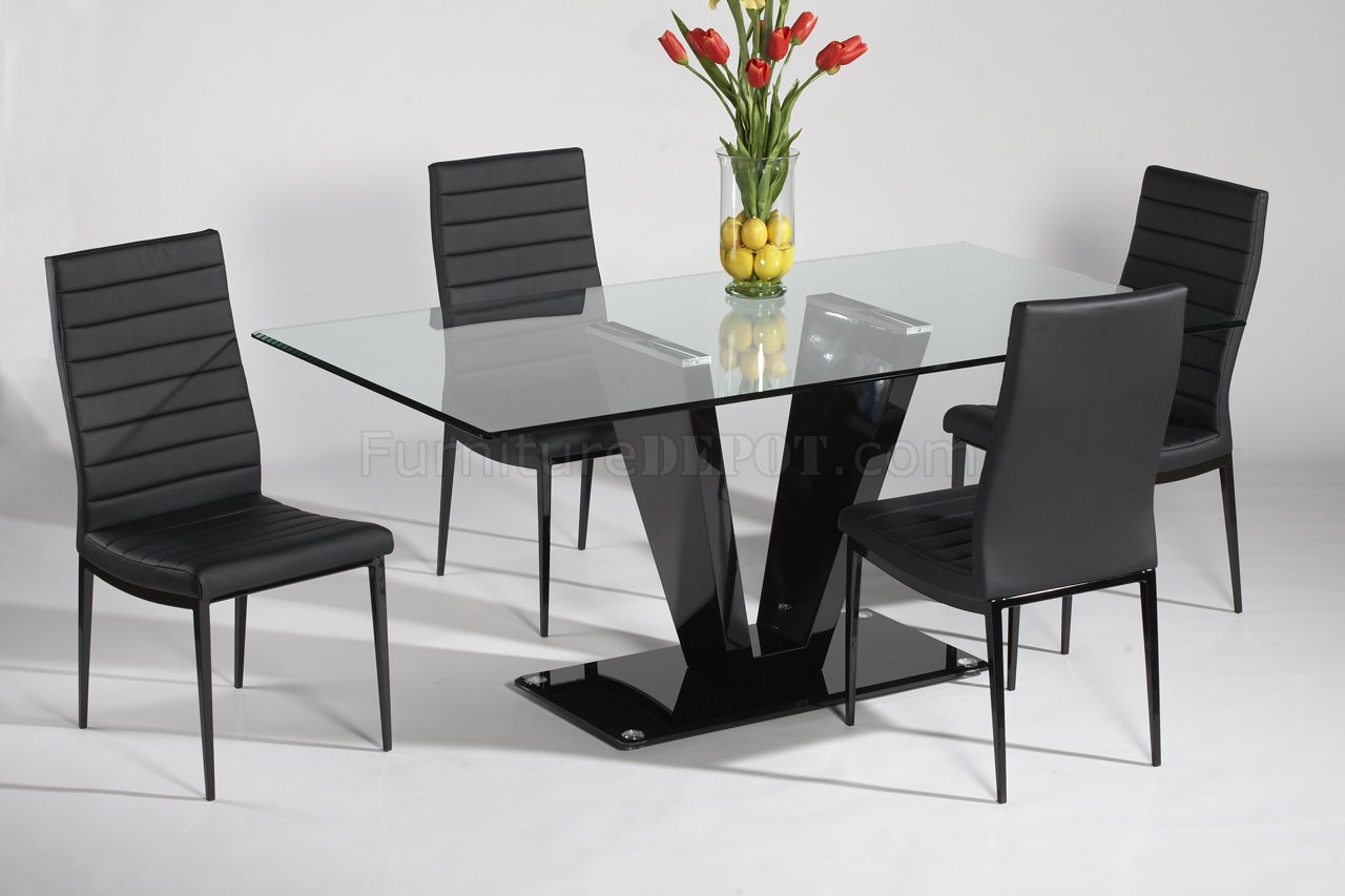 Glass top black gloss base dining table w optional chairs for Modern table and chairs