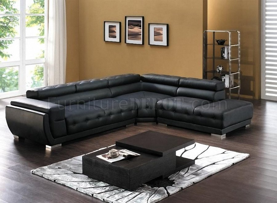 Black Bonded Leather Modern Sectional Sofa W Adjule Headrest