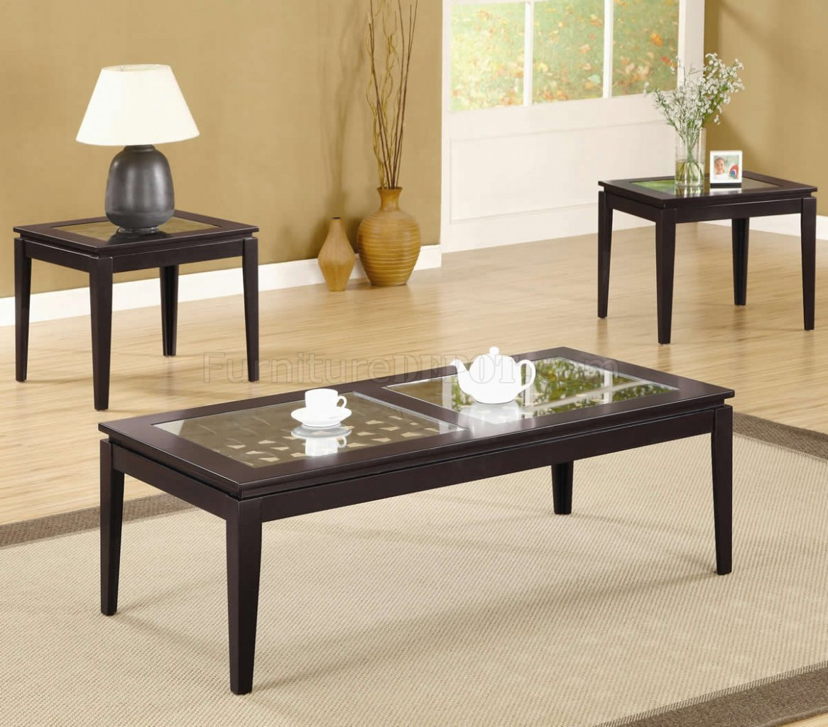 Dark walnut finish modern 3pc coffee table set w weave design 3 set coffee tables