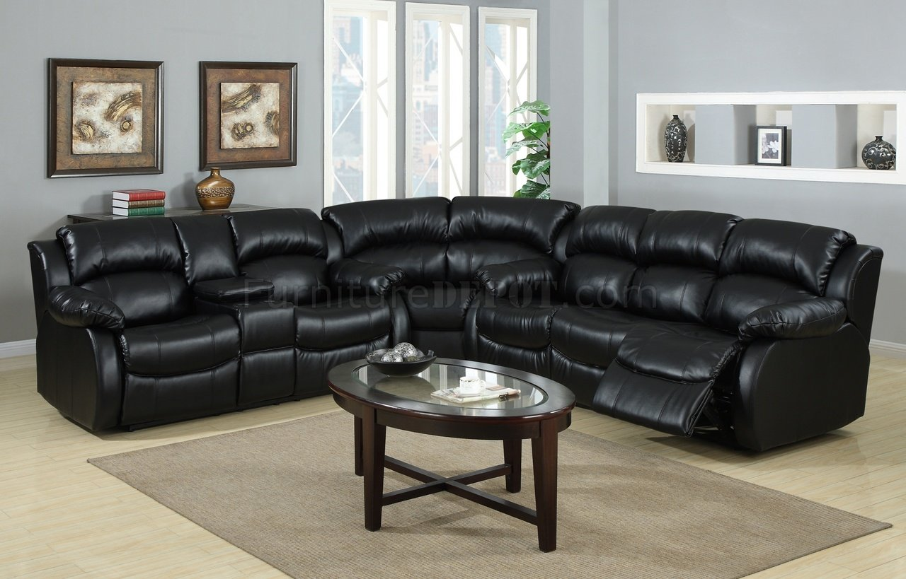 8000 reclining sectional sofa in black bonded leather. Black Bedroom Furniture Sets. Home Design Ideas