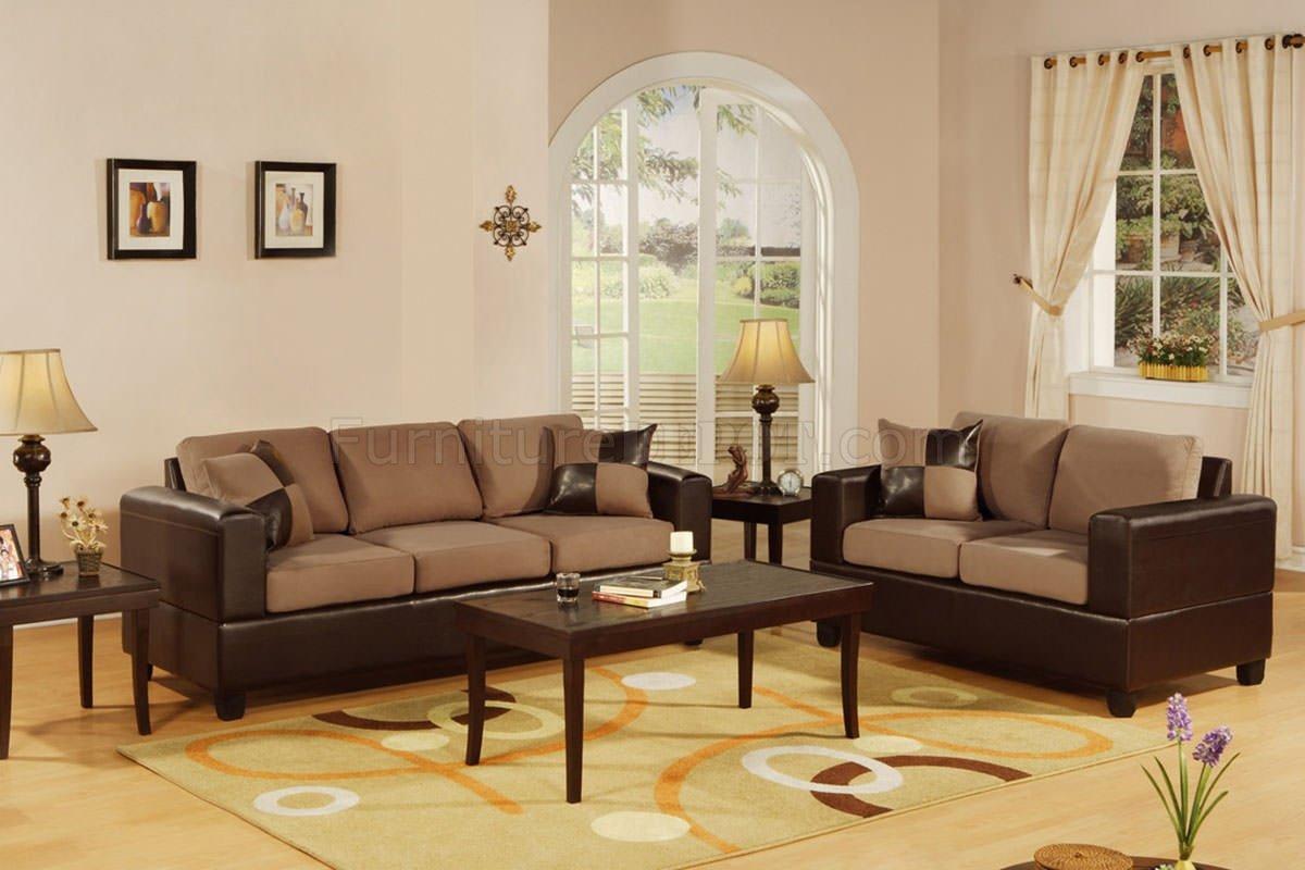 Tremendous F7592 Saddle Microfiber Sofa Set W Brown Leather By Poundex Uwap Interior Chair Design Uwaporg