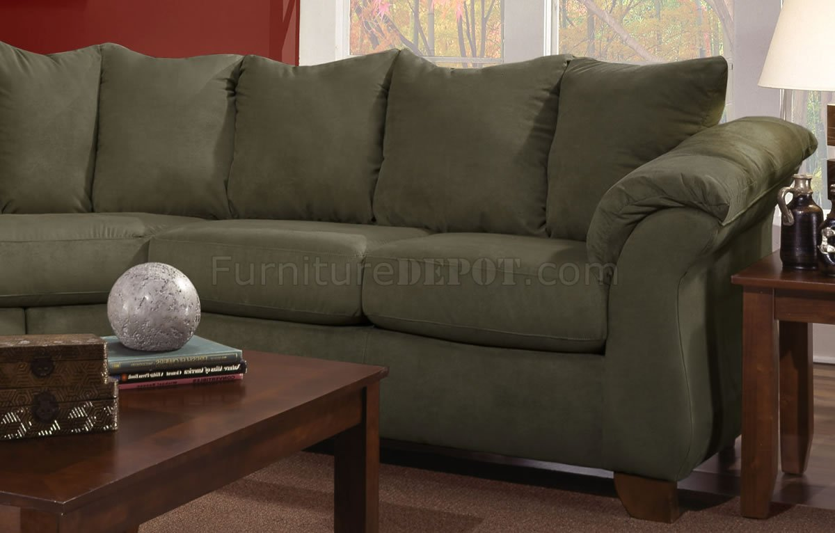Olive Microfiber Modern Sectional Sofa W Optional Items