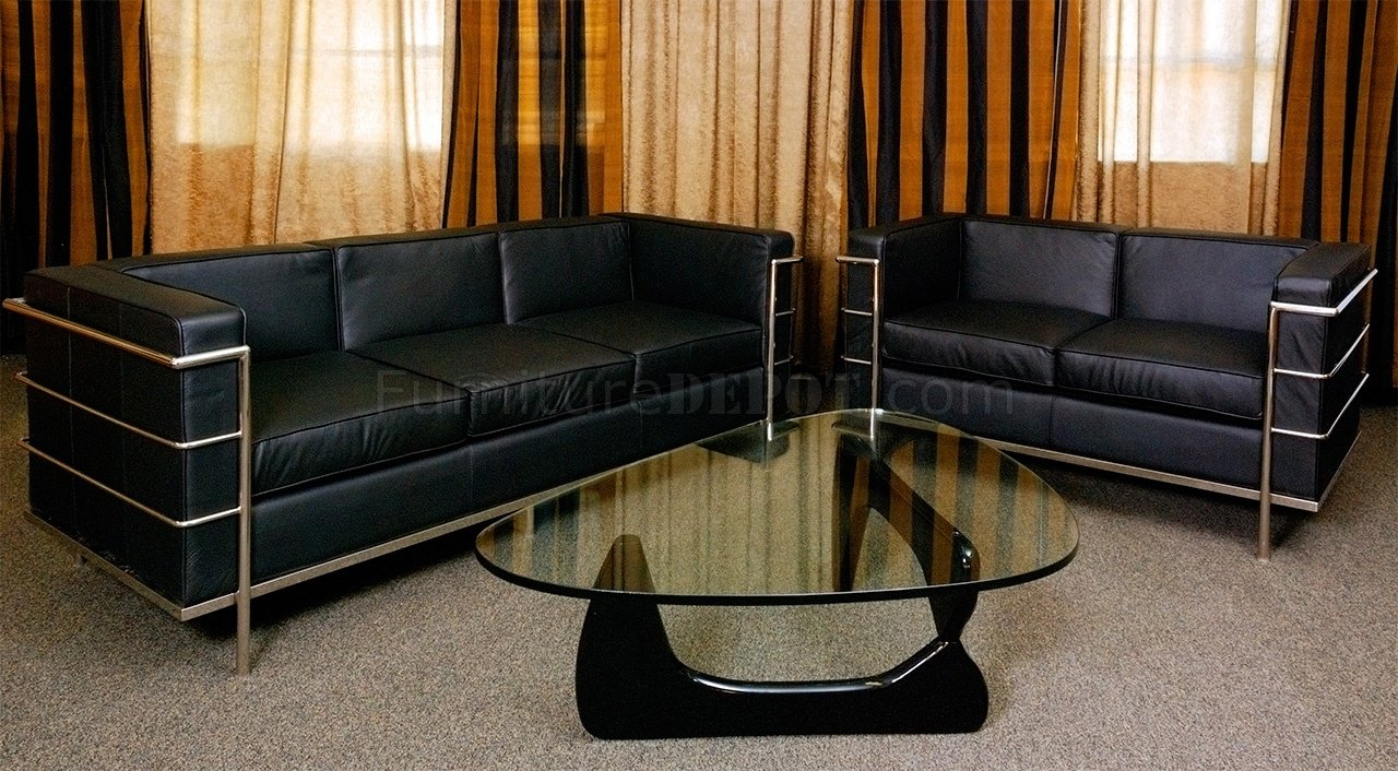 le corbusier style grande modern sofa in black full leather