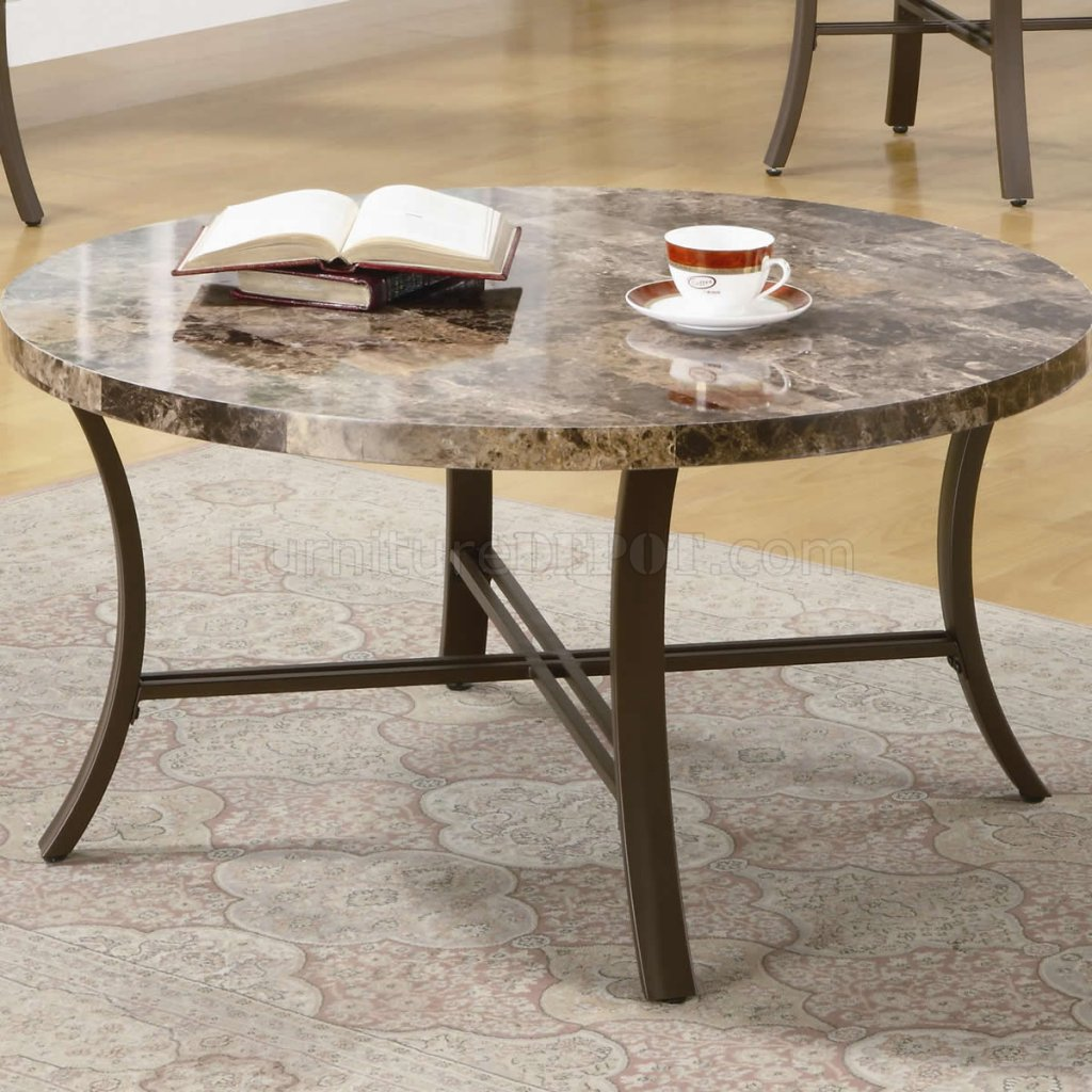 marblelike round top metal base modern 3pc coffee table set p