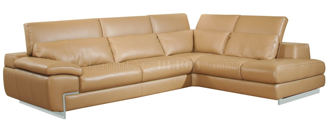 Mouton Full Leather Oregon Ii Modern Sectional Sofa