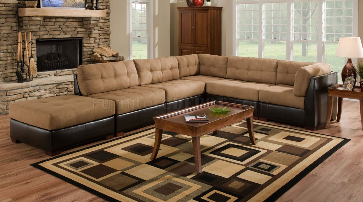 Camel Fabric Sectional Sofa W Dark Brown Faux Leather Base