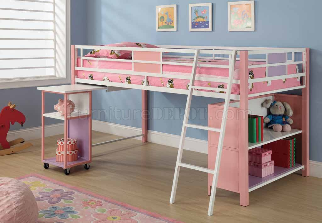 Pink Finish Modern Kids Twin Loft Bed W Storage Shelves CRKB 460200