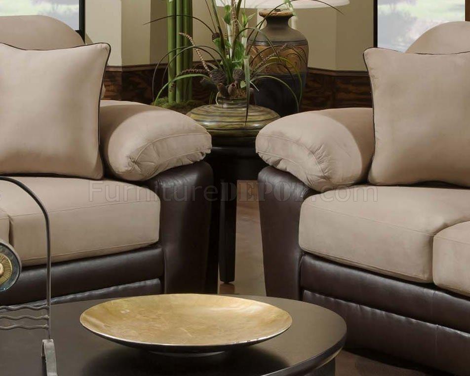 Mocha Microfiber Sofa Amp Loveseat Set W Bonded Leather Base