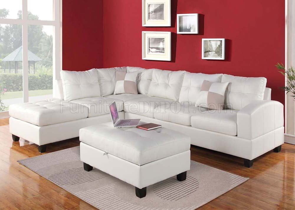 Contemporary Bedroom Set London Black By Acme Furniture: 51175 Kiva Sectional Sofa In White Bonded Leather By Acme