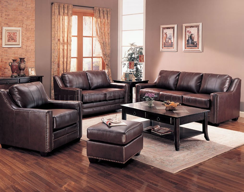 Brown bonded leather contemporary living room sofa w options for Brown living room furniture