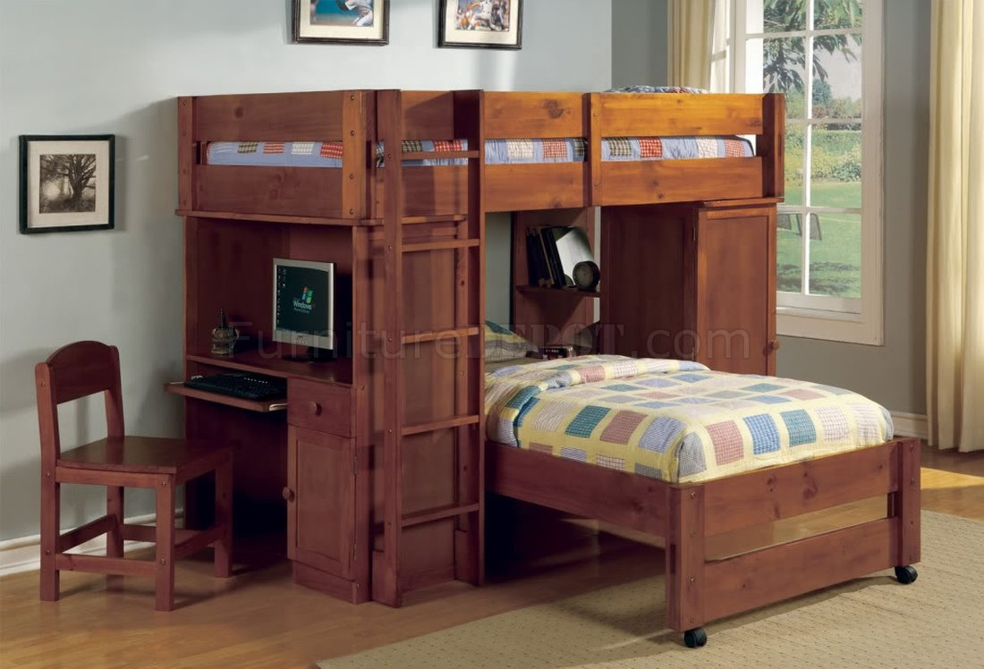 Cm Bk529oak Harford Bunk Bed In Oak W Desk Amp Chair