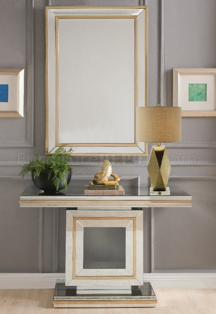Osma Console Table Amp Mirror Set 90324 In Mirror Amp Gold By Acme