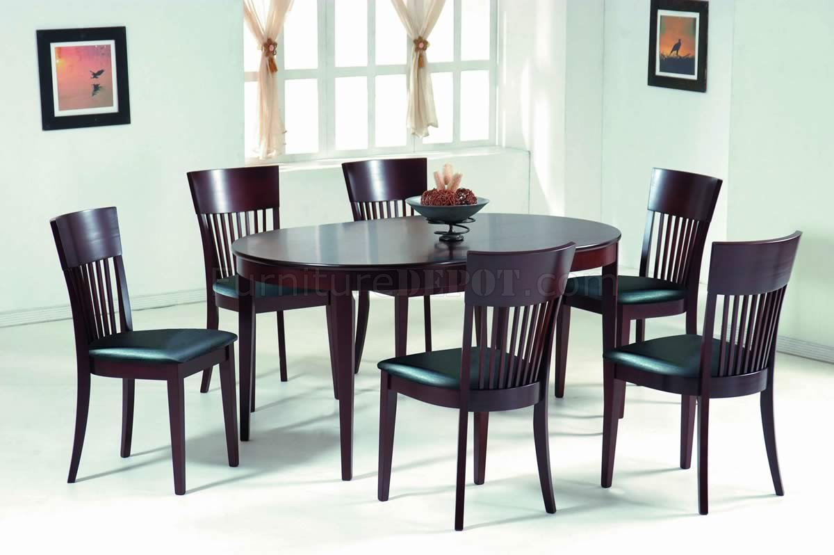 Dark Walnut Modern Oval Dining Table W Optional Chairs