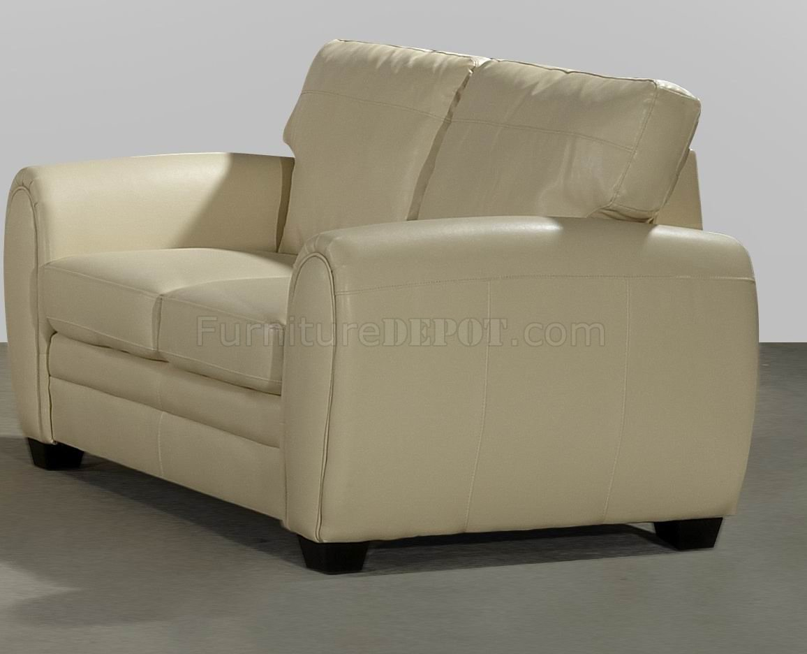 Cream Bonded Leather Modern Loveseat Sofa Set W Options