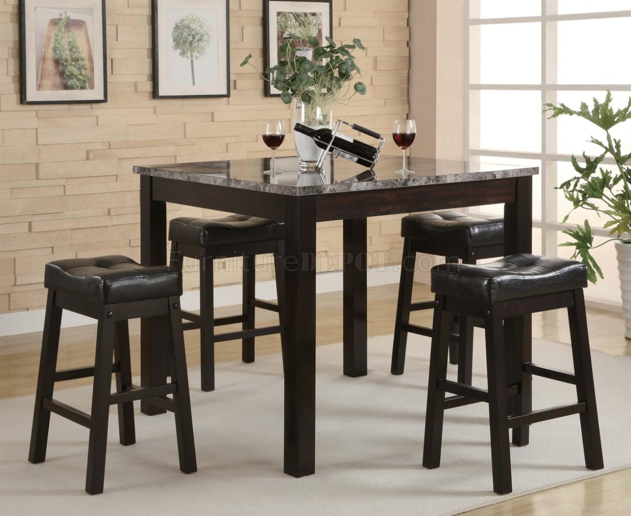 Black modern 5pc faux marble top counter height dining set Black marble dining table set