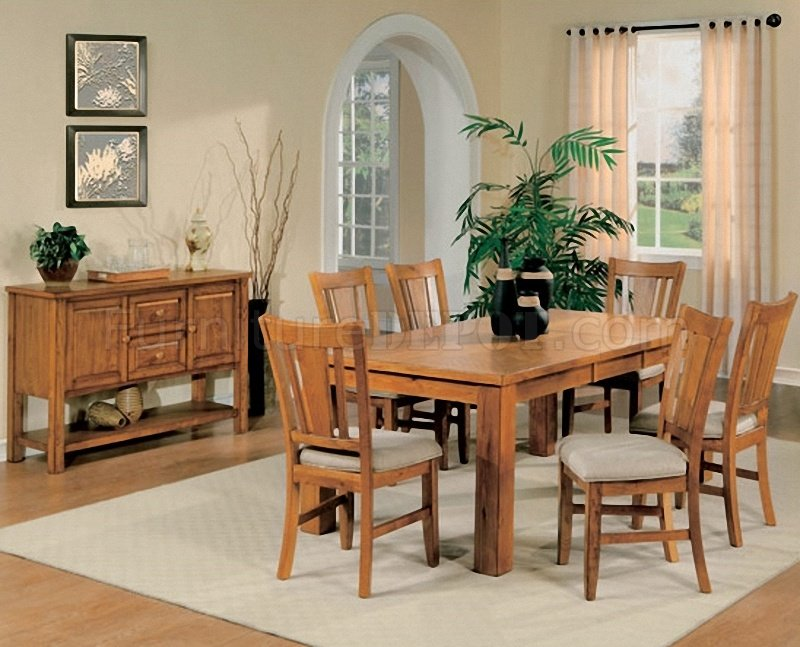 Light Oak Finish Casual Dining Room Table W Optional Chairs HEDS 986N