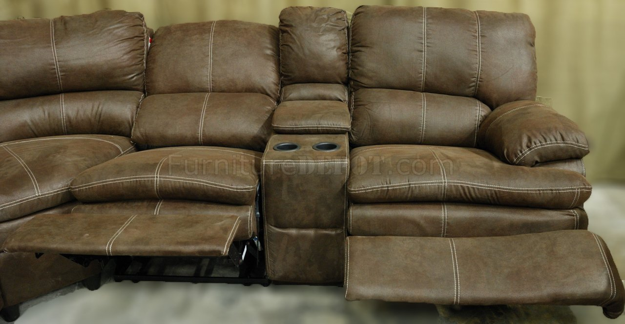 Rustic Brown Microfiber Reclining Sectional W Baseball