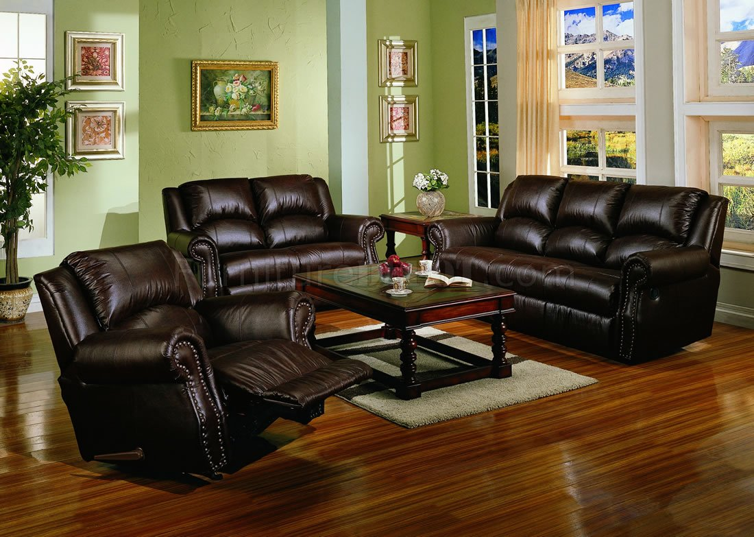 Dark chocolate brown bonded leather living room w recliners for Living room designs brown furniture