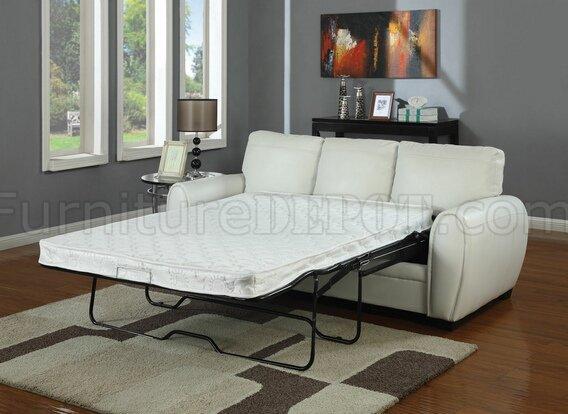 white bonded leather modern sofa w full size sleeper ams 15228 amber