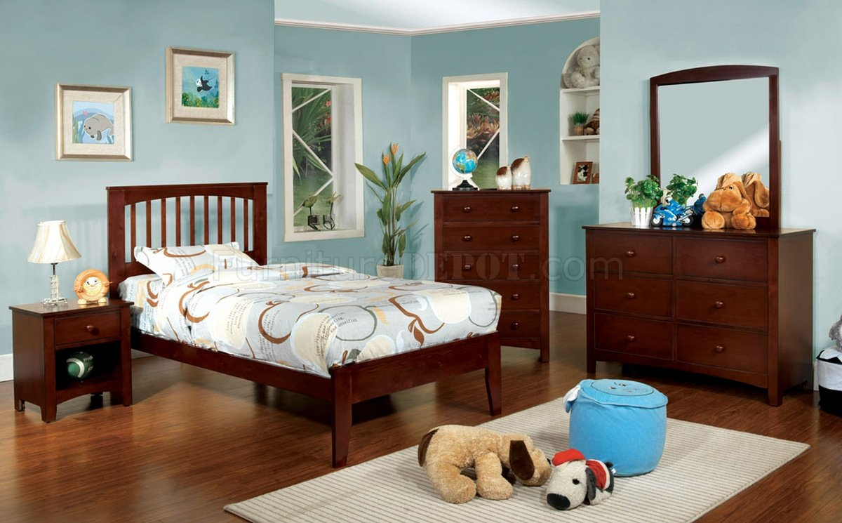Cm7908ch pine brook kids bedroom 4pc set in cherry w options - Childrens pine bedroom furniture ...