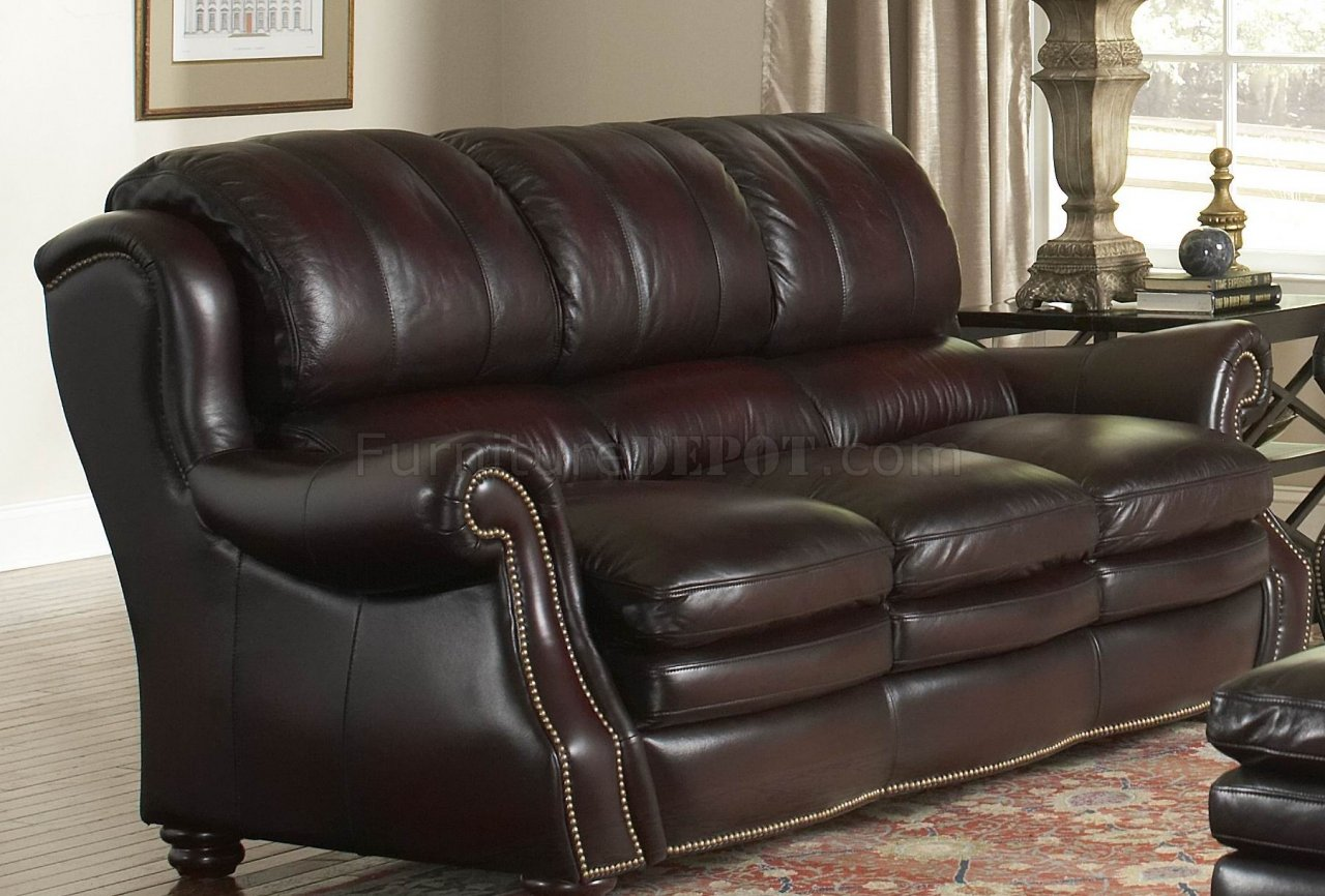 Leather italia burgundy bridgeport sofa loveseat set w options Burgundy leather loveseat