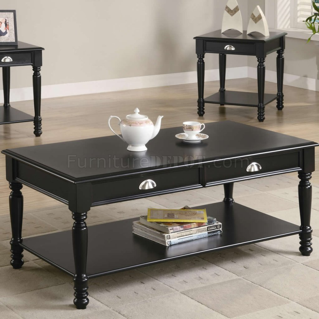 Black Satin Finish Classic 3pc Coffee Table Set W Shelves