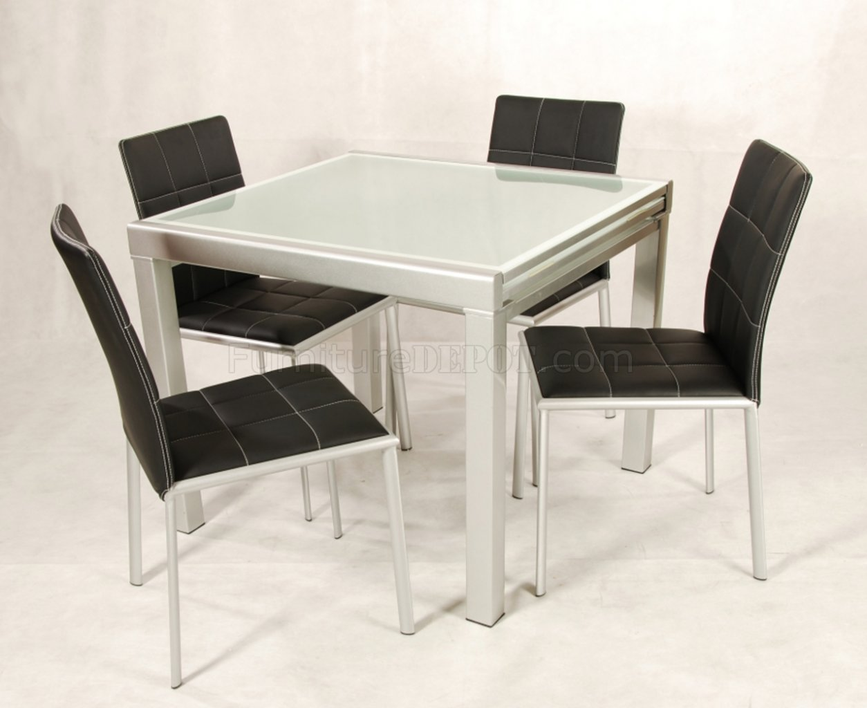 Frosted Glass Extendable Top Modern 5Pc Dining Set