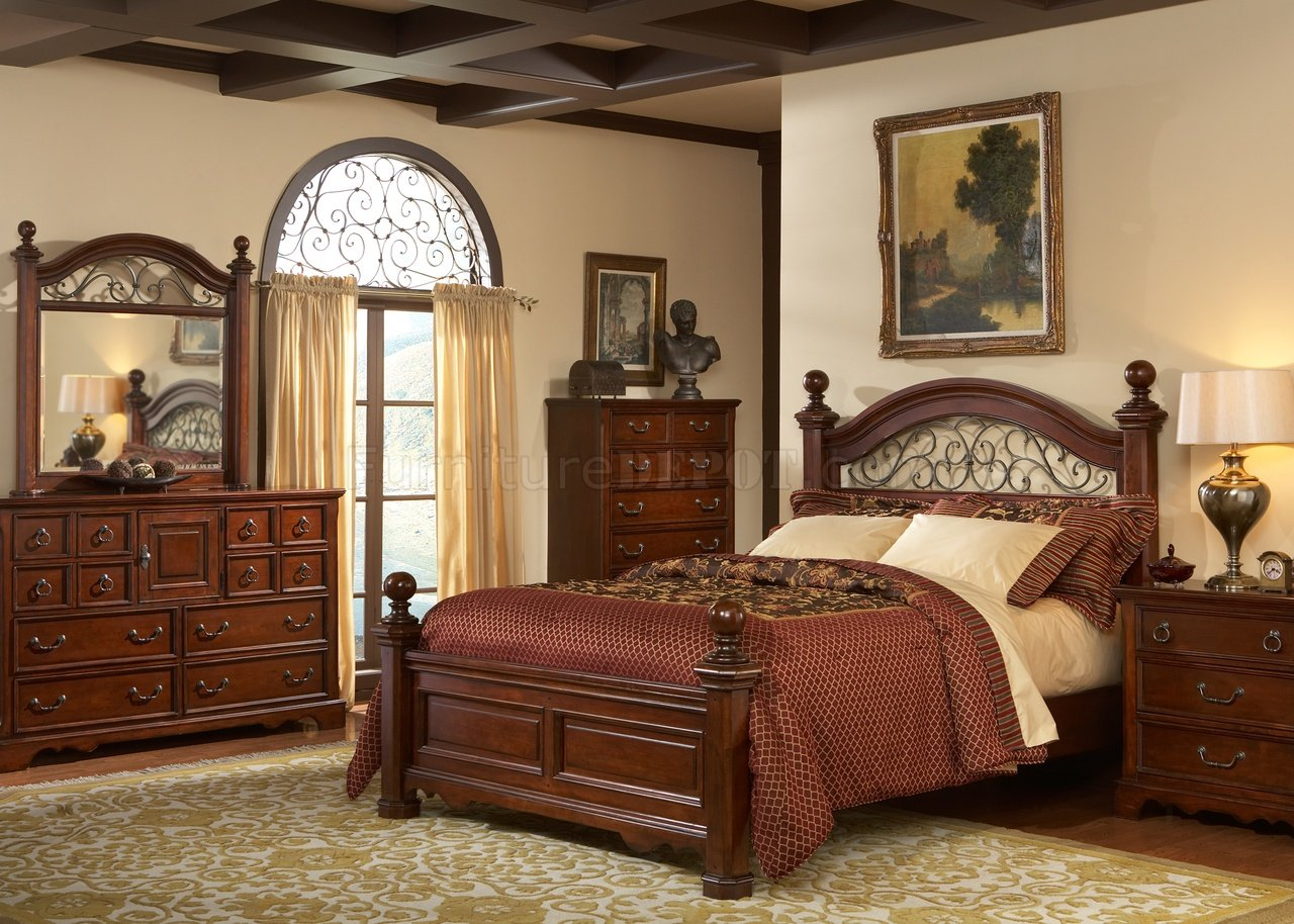 Rustic brown cherry finish traditional poster bed w options for Traditional bedroom furniture