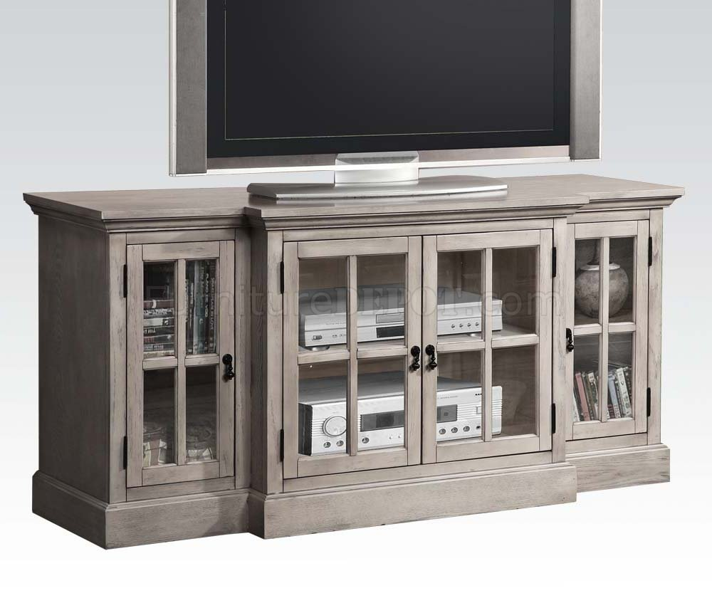 91180 Julian Tv Stand In Salvage Gray By Acme