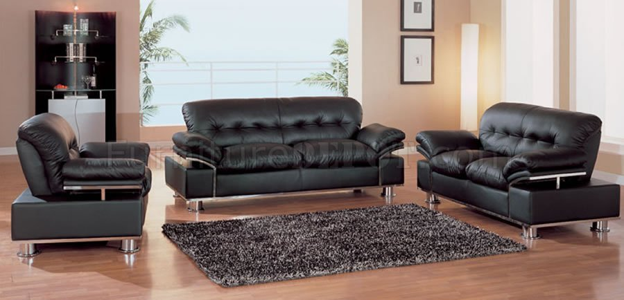 modern black leather living room set with metal accents gfs 2 56762lbl