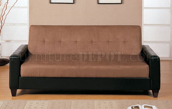 Light Oak Brown Microfiber Sofa Bed W Black Faux Leather Base
