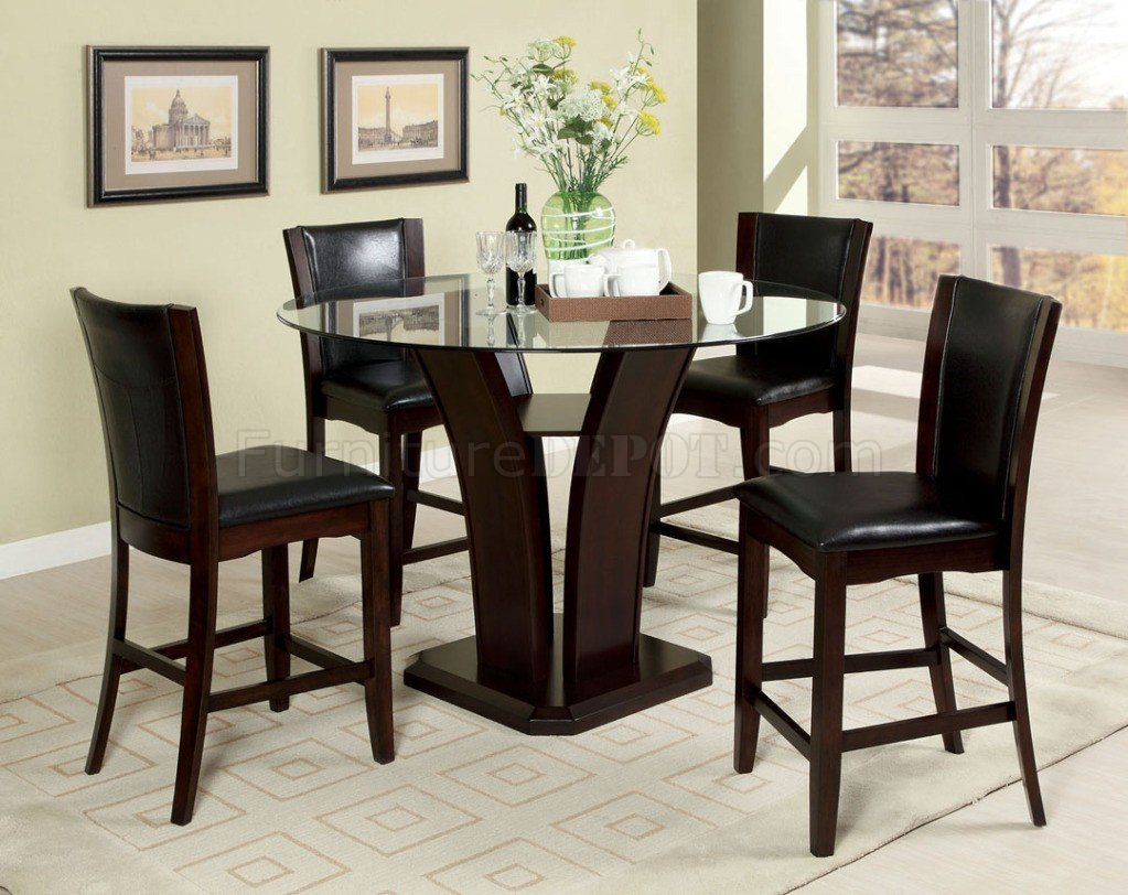 cm3710pt 5pc counter height dining set w black chairs