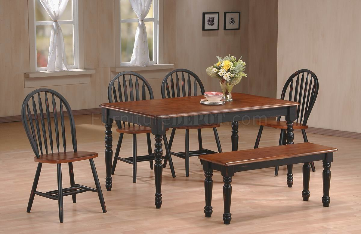 Black & Cherry Two Tone Finish Modern 6Pc Dining Set