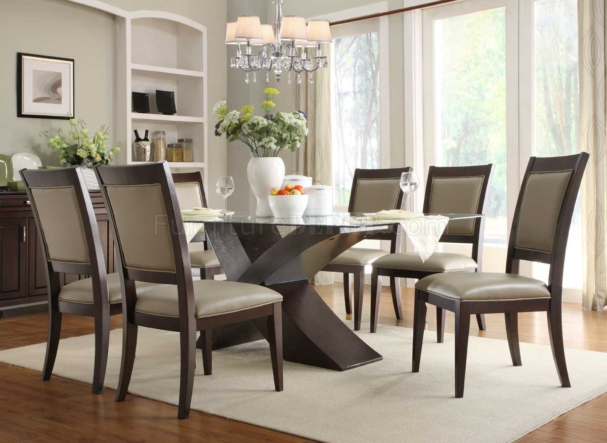 2468 72 bering dining table by homelegance in espresso w options Dining room furniture glass