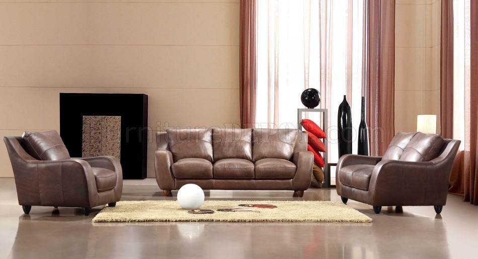 brown full italian leather modern 3pc living room set. Black Bedroom Furniture Sets. Home Design Ideas