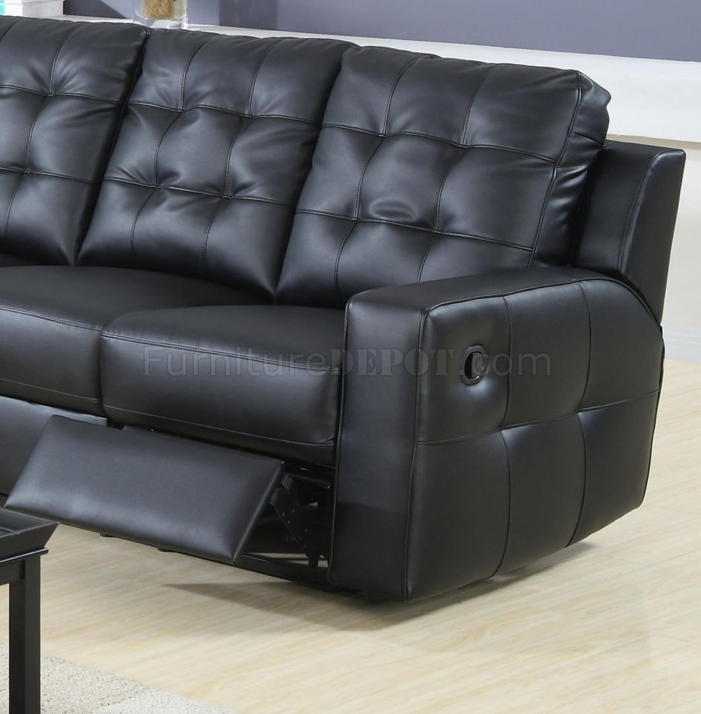 Black Bonded Leather Double Reclining Modern Sectional Sofa : black reclining sectional - islam-shia.org