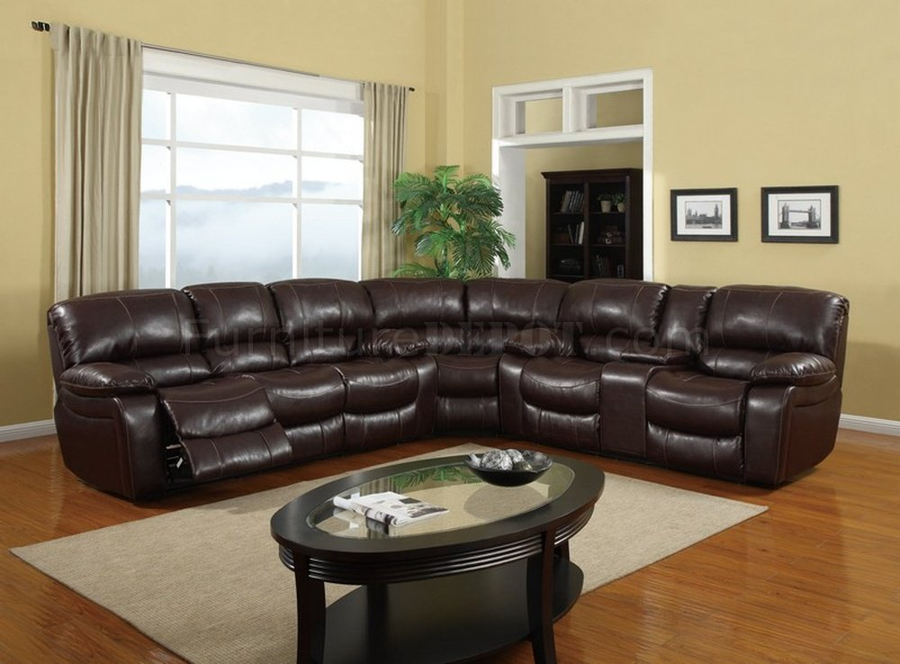 u8122 3pc reclining sectional sofa in burgundy bonded leather