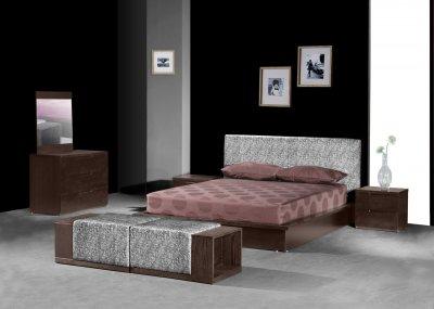Modern chocolate brown bedroom w storage platform bed for Chocolate brown bedroom furniture