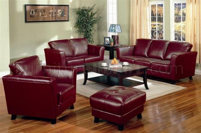 Genuine Burgundy Red Leather Contemporary Sofa amp 2 Chairs Set