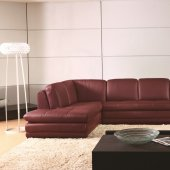 Ml157 Sectional Sofa In Red Leather By Beverly Hills