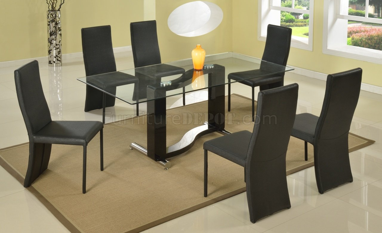 Fenya Dining Table Clear Glass Top By Chintaly W/Optional