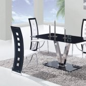 D551DT Dining Set 5Pc w/803DC White & Black Chairs by Global