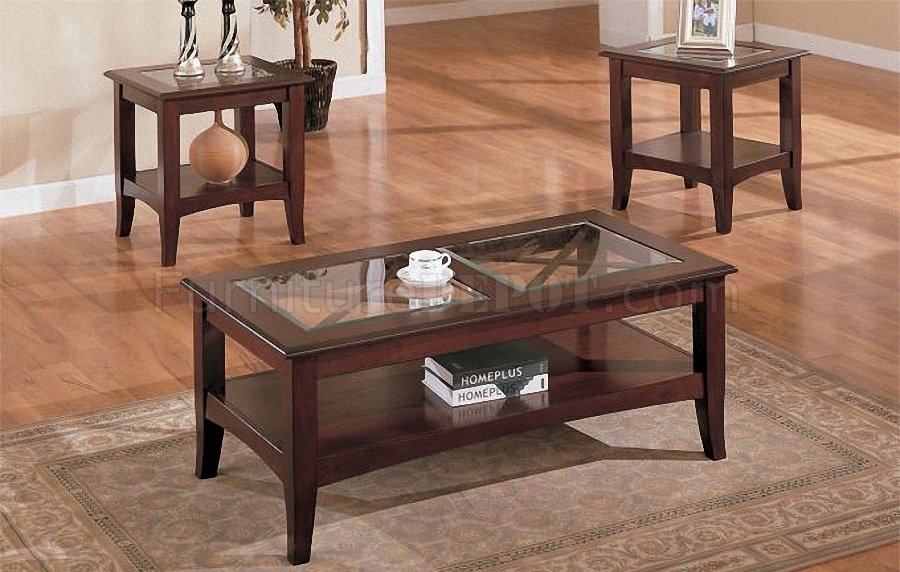 & Dark Cherry Stylish 3PC Coffee Table Set w/Glass Tops