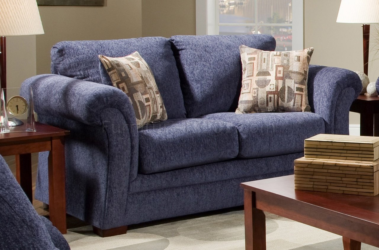 Plush Blue Fabric Casual Modern Living Room Sofa