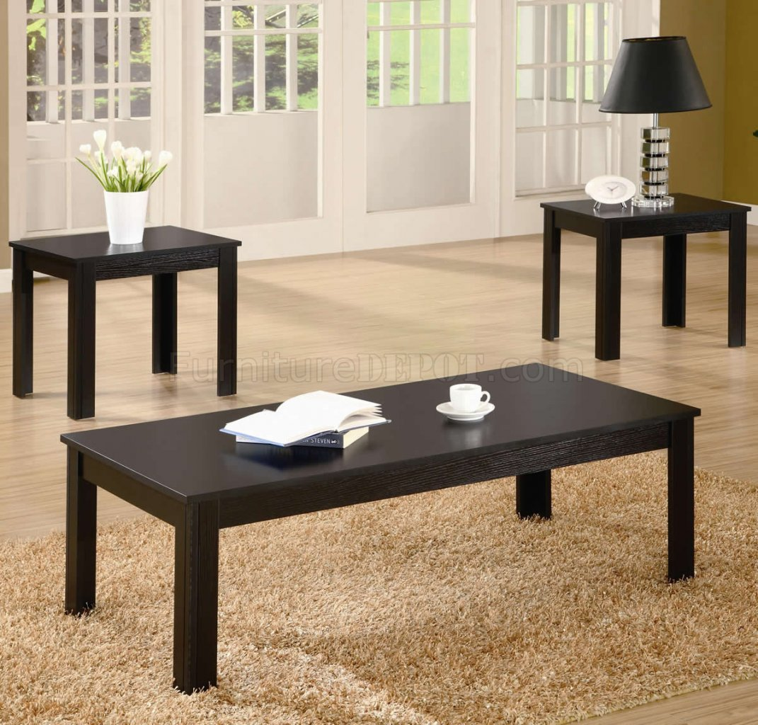 Black finish modern casual 3pc coffee two end tables set Modern coffee and end tables