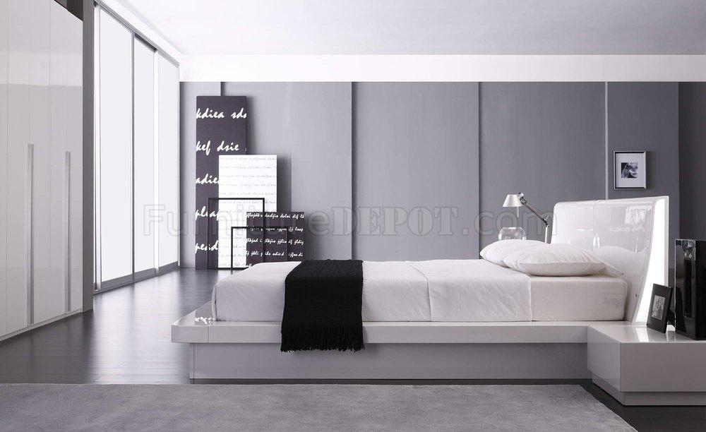 White Gloss Finish Modern Bedroom Set